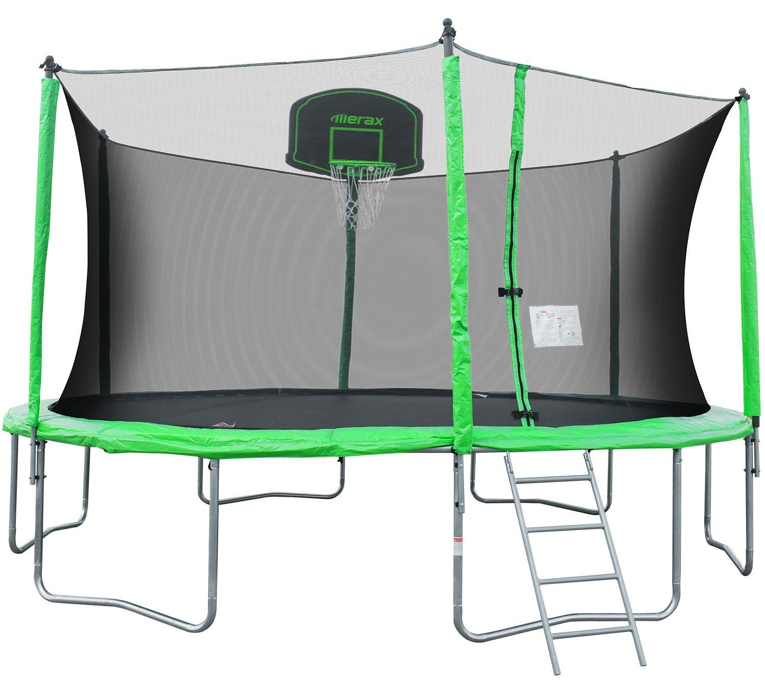 Merax 14-Feet Round Trampoline with Safety Enclosure, Basketball Hoop and Ladder