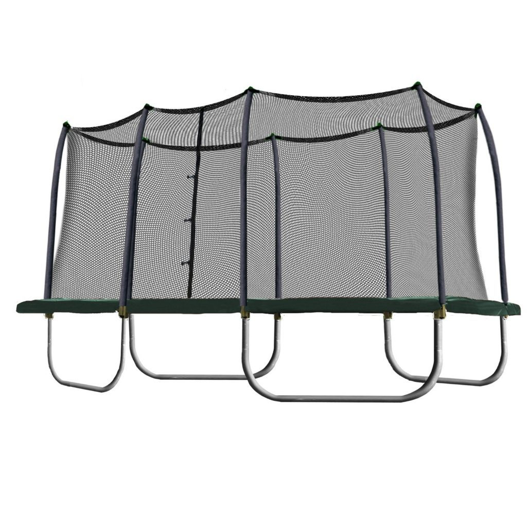 Skywalker Trampolines Rectangle Trampoline and Enclosure with Green Spring Pad, 8 X 14-Feet