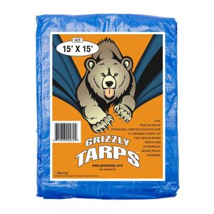 Grizzly Tarps 15 x 15 Feet Blue Multi Purpose Waterproof Poly Tarp Cover