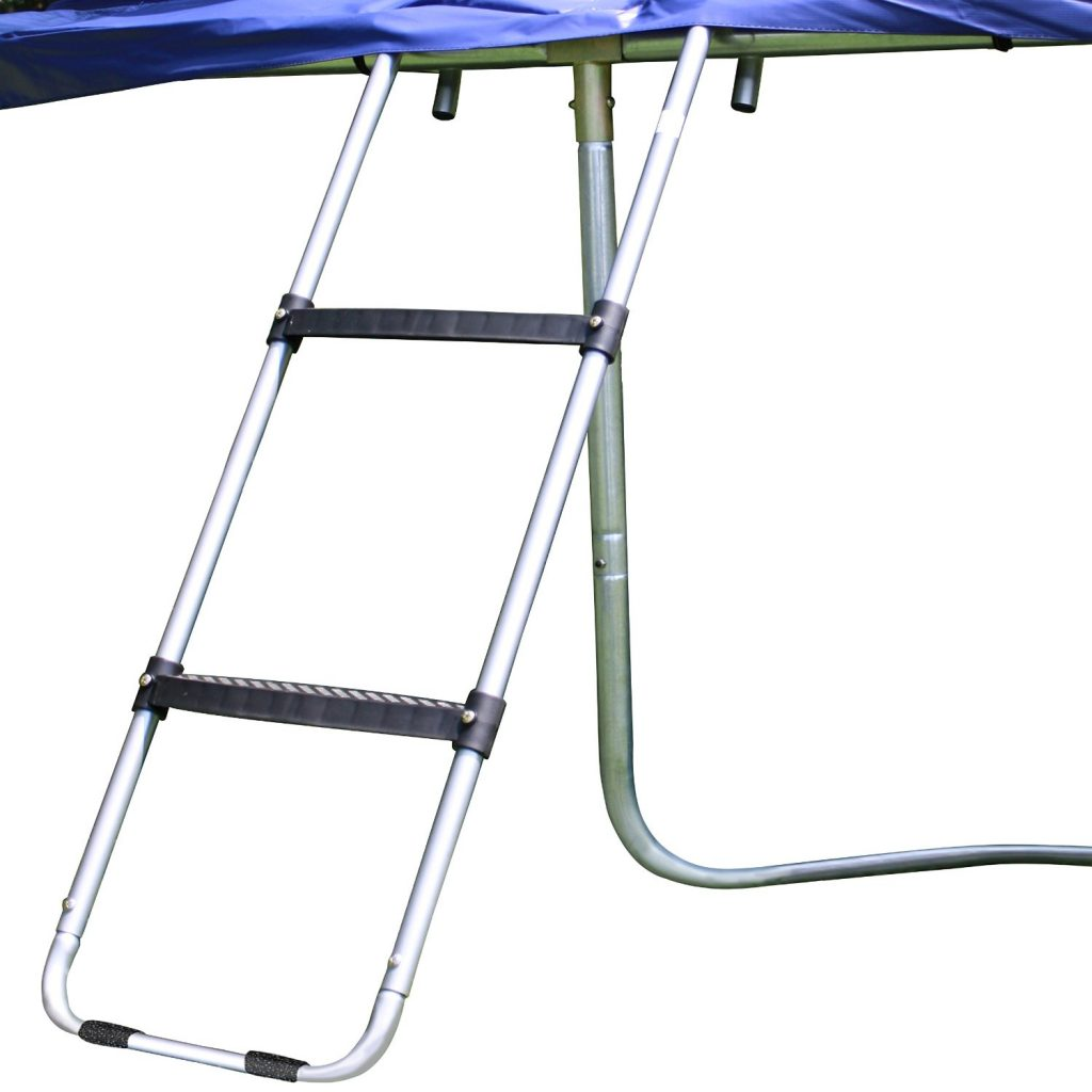 Wide-step trampoline ladder